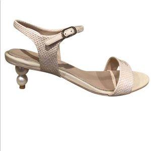 Chanel dark beige pearl heel strap sandal EU 39